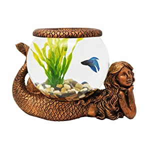 The Nifty Nook Exclusive Design New Mystical Mermaid Decorative Gold Antiqued Glass Fish Bowl Tabletop Aquarium or Terrarium or Candle Holder, New 1 Gallon Size Fish Bowl with River Rocks