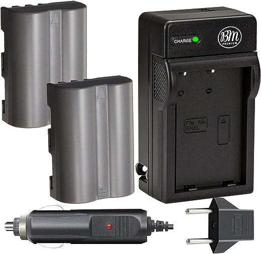 بي ام بريميوم عبوتين من بطاريات EN-EL3e وشاحن بطارية لنيكون D50, D70, D70s, D80, D90, D100, D200, D300, D300S, D700, D900 كاميرا SLR الرقمية