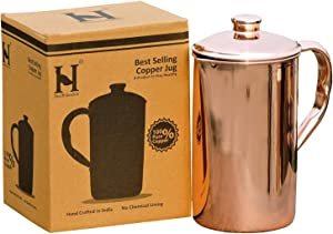 HealthGoodsIn - Pure Copper (99.74%) Water Jug   Copper Pitcher for Ayurveda Health Benefits (50.7 US Fluid Ounce)