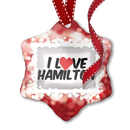 Hamilton Christmas Ornament.Neonblond Christmas Ornament I Love Hamilton Red
