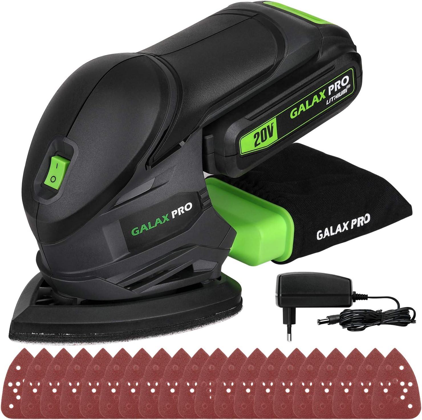 GALAX PRO Lijadora Eléctrica, Lijadora Mouse de 20V Batería de 1.3Ah Recargable, Lijadora de Detalle, Velocidades 12000 OPM con 20 Papeles de Lijas para Decoraciones del Hogar 96723-1: Amazon.es: Bricolaje y herramientas