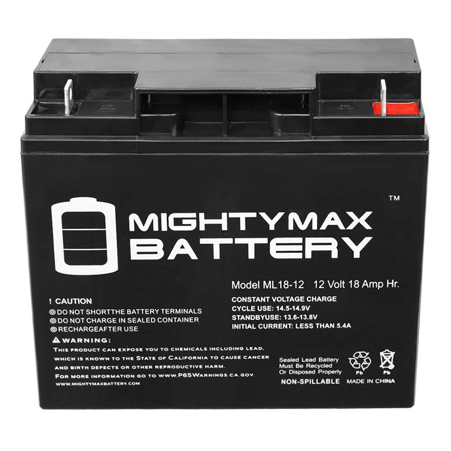 12v 18ah Battery >> Mighty Max Battery 12v 18ah Sealed Lead Acid Battery Replacement For Fm12180 Brand Product