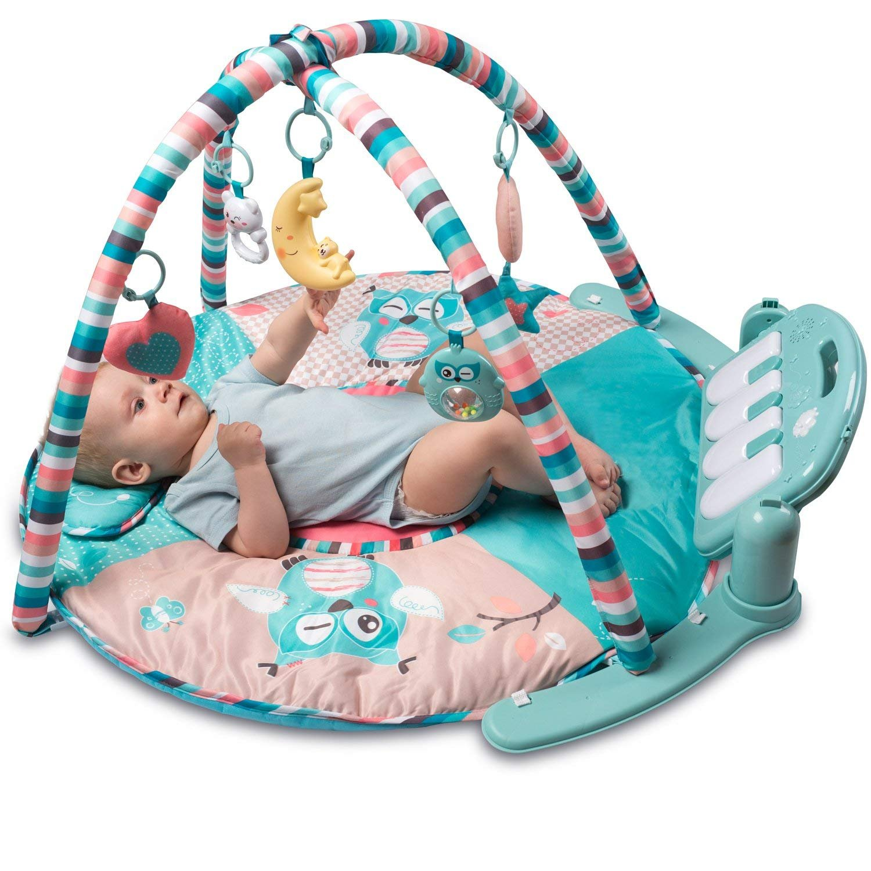 Tapiona Large Baby Play Mat - Kick Play Piano Gym - Newborn Toy Baby Girl Boy, 0 - 36 Month (0 - 3 Years) - 5 Activity Toys, Piano, Flashing Moon, Cushion