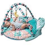 Tapiona Large Baby Play Gym, Kick and Play Piano Infant Activity Mat for Babies 0+, 5 Baby Activity Toys, Kick Piano, Flashin
