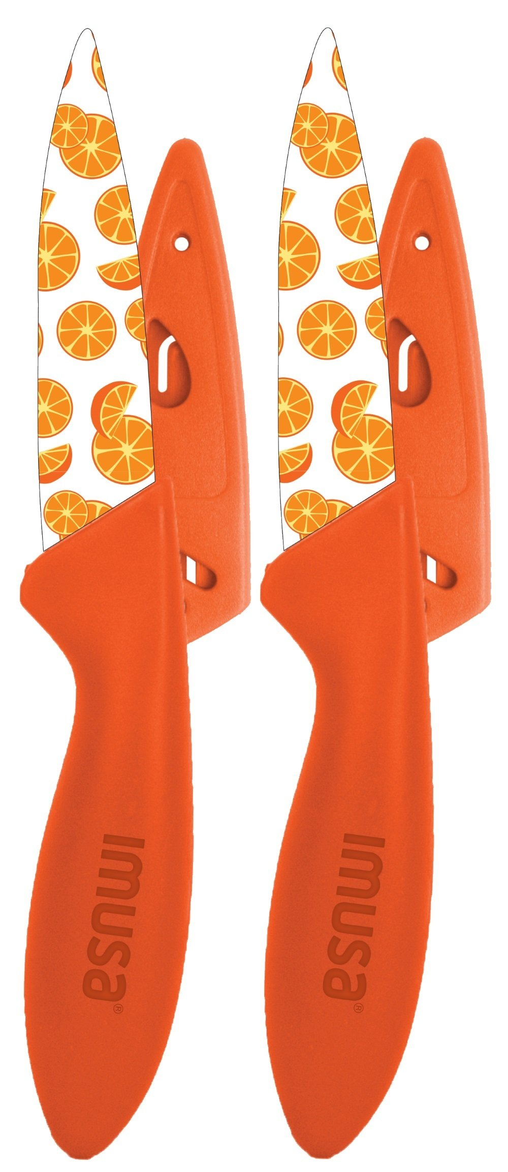 IMUSA 2pk Printed Paring Knife Set with Sheath Covers- Cut Fruit, Vegetables, and More, Make Food Prep Easy, Orange Design