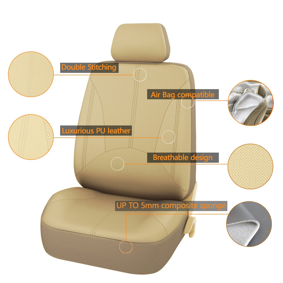 Truck SUV WAZA Car Seat Covers PU Leather Seat Covers Common for Universal Fit Most Car Black or Van