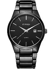 Men's Stainless Steel Wrist Watch Black Quartz Watch for Men