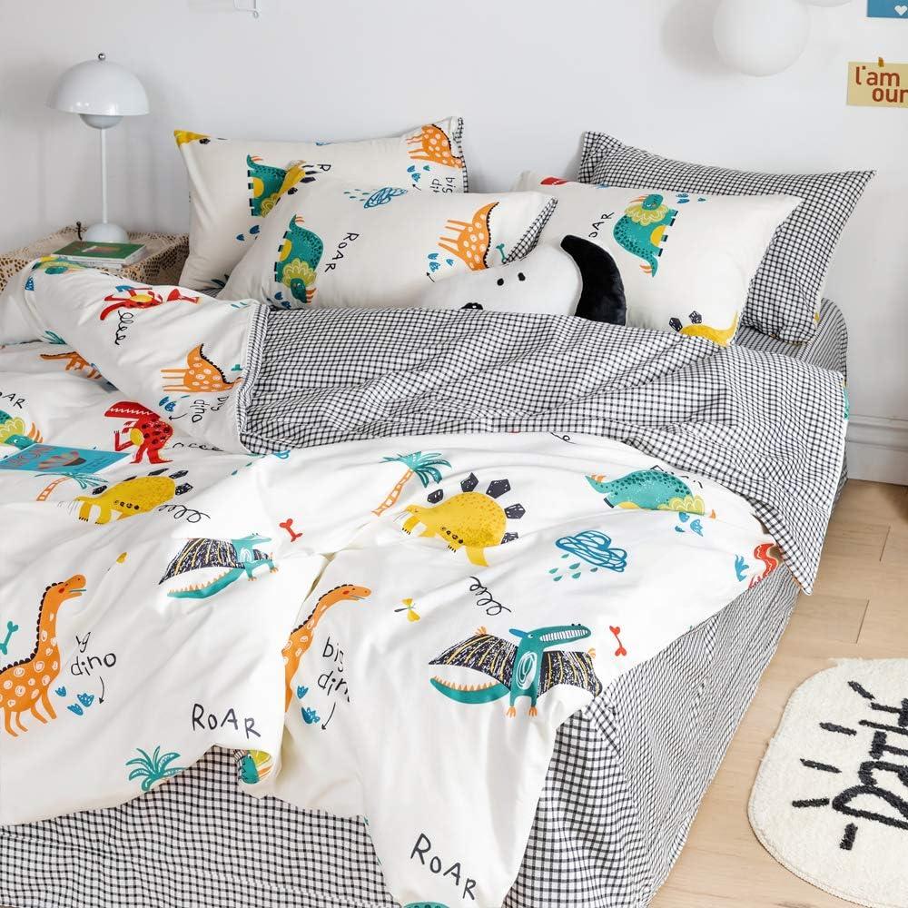 AOJIM Big Dino Cartoon Dinosaur Duvet Cover Animal Print Bedding Set 3 PCS 100/% Cotton Color Dinosaur Sauropoda Comforter Cover Queen Size for Boys//Teens//Men