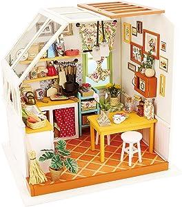 Rolife DIY Dollhouse Miniature Kit,House Kit with Dollhouse Furniture,Wooden Dollhouse Miniature Kits,Birthday/Christmas for Handicraft Lovers,Women and Girls(Jason's Kitchen)