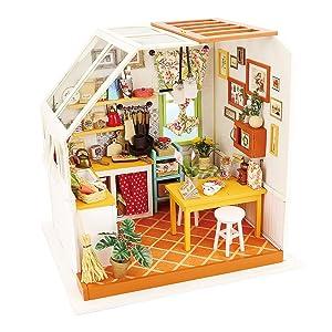 ROBOTIME Exquisite DIY House Miniature Dollhouse Kits Kitchen Room Birthday Gifts for Boyfriend & Girlfriend
