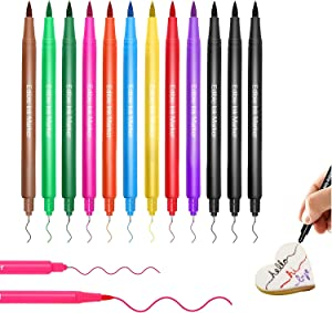 Food Coloring Pens, Upgrade 12Pcs Food Coloring Marker Pens Dual Sided Edible Markers with Fine(0.5mm)and Thick Tip Food Grade Gourmet Writers for DIY Fondant Cakes Frosting Baking Party