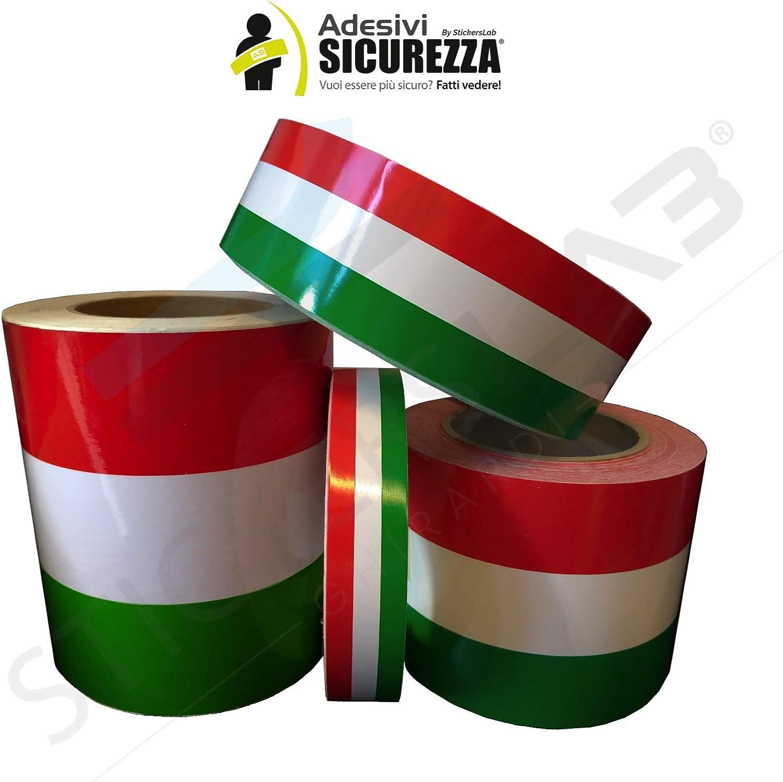15cm, Lunghezza - 1 Metro Fascia Banda Adesiva Tricolore Bandiera Italia a Strisce in 4 Misure StickersLab