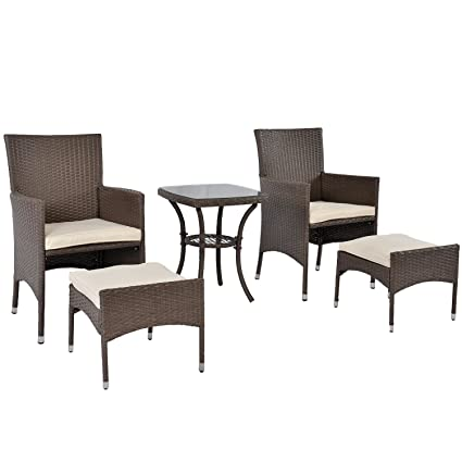 SUNLONO Outdoor Furniture Set Paito Conversation Chair Set 5 Pieces PE  Wicker Rattan Cushioned Chairs And