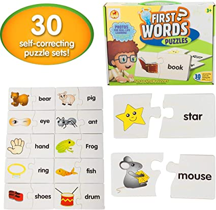 Baybee First Words Puzzle for Kids/Children - Educational Toy and Learning Aid Jigsaw Puzzle/ Education Puzzle More Fun with Words/Birthday Gift Set for Kids, 3 Year Old Boys and Girls (30 Pieces)