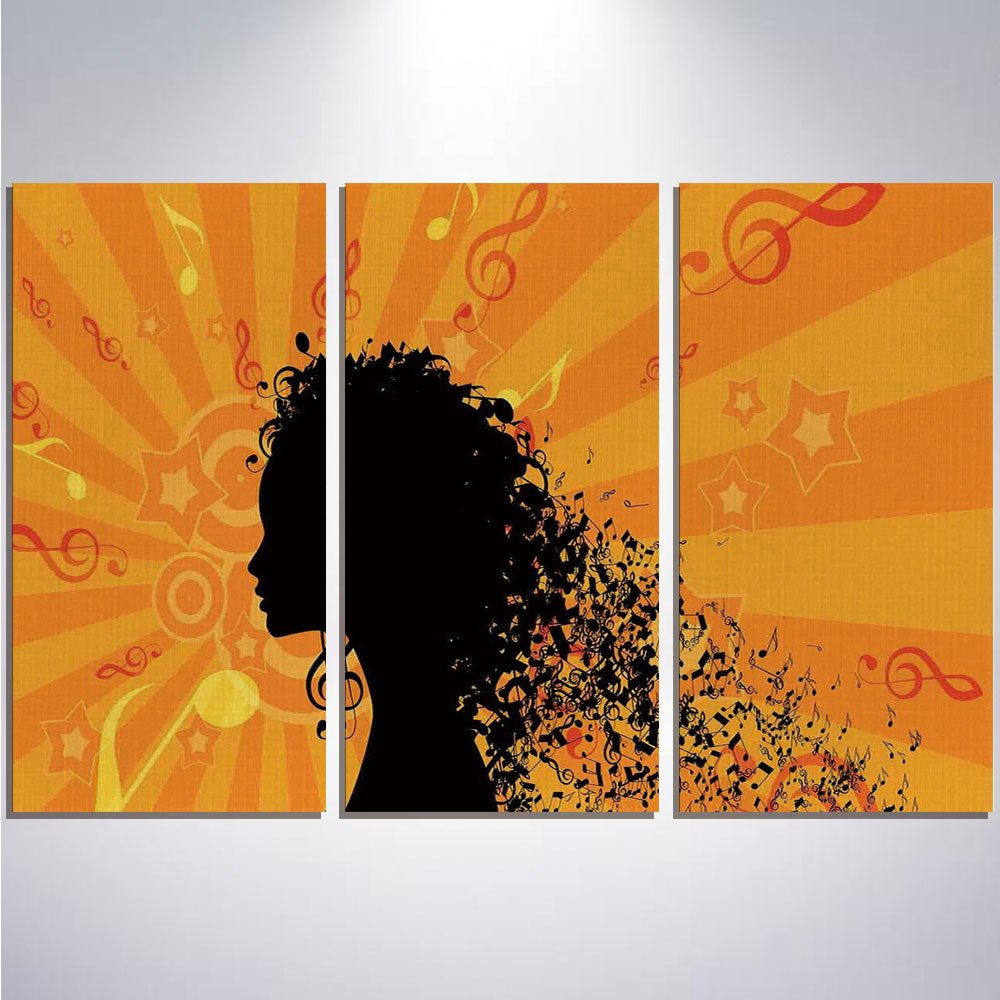 Oil Painting Contemporary Artwork - Music Decor - Hanging Decor Stretched and Framed Ready to Hang - 12'' x 24'' x 3 Panels
