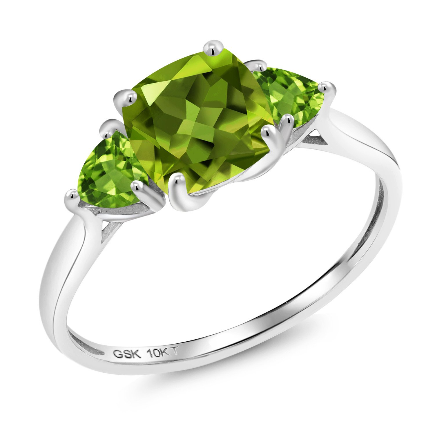 Gem Stone King 2.22 Ct Cushion Green Peridot 10K White Gold 3 Stone Meghan Ring (Size 9) by Gem Stone King