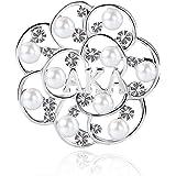 KINGSIN AKA Sorority Gifts Alpha Kappa Alpha Paraphernalia Pearl Crystal Flower Leaf Brooch AKA Graduation Jewelry for Women