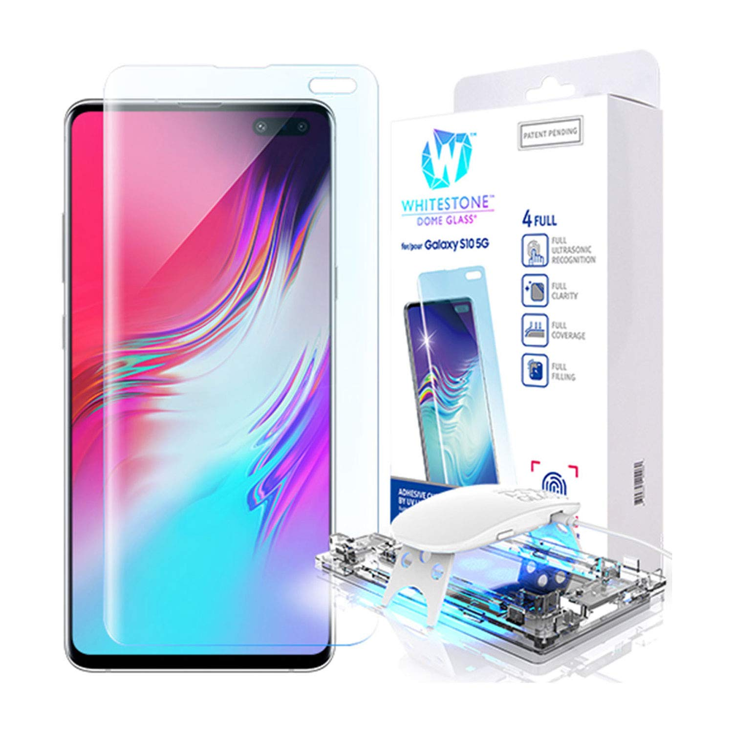 Galaxy S10 5G Screen Protector, [Dome Glass] Full 3D Curved Edge Tempered Glass [Exclusive Solution for Ultrasonic Fingerprint] Easy Install Kit by Whitestone for Samsung Galaxy S10 5G (2019) - 1 Pack by Dome Glass