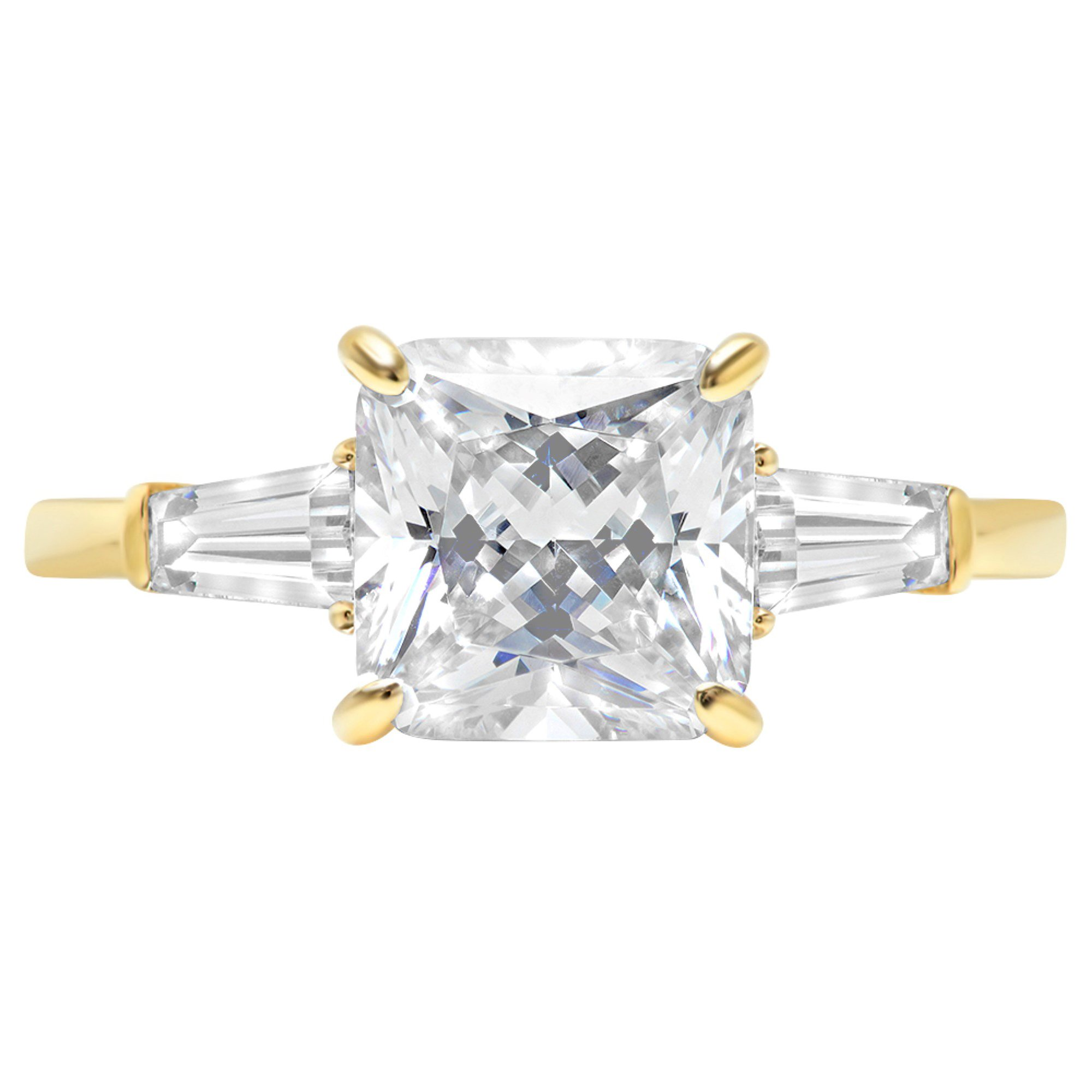 Asscher Baguette 3-Stone Classic Solitaire Designer Wedding Bridal Statement Anniversary Engagement Promise Ring 14k Yellow Gold, 3.7ct, 10 by Clara Pucci