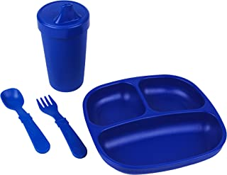 product image for Re-Play Made in The USA Toddler Diner Set | Divided Plate, No Spill Sippy Cup, Utensil Set | Eco Friendly Heavyweight Recycled Milk Jugs - Virtually Indestructible | Navy Blue