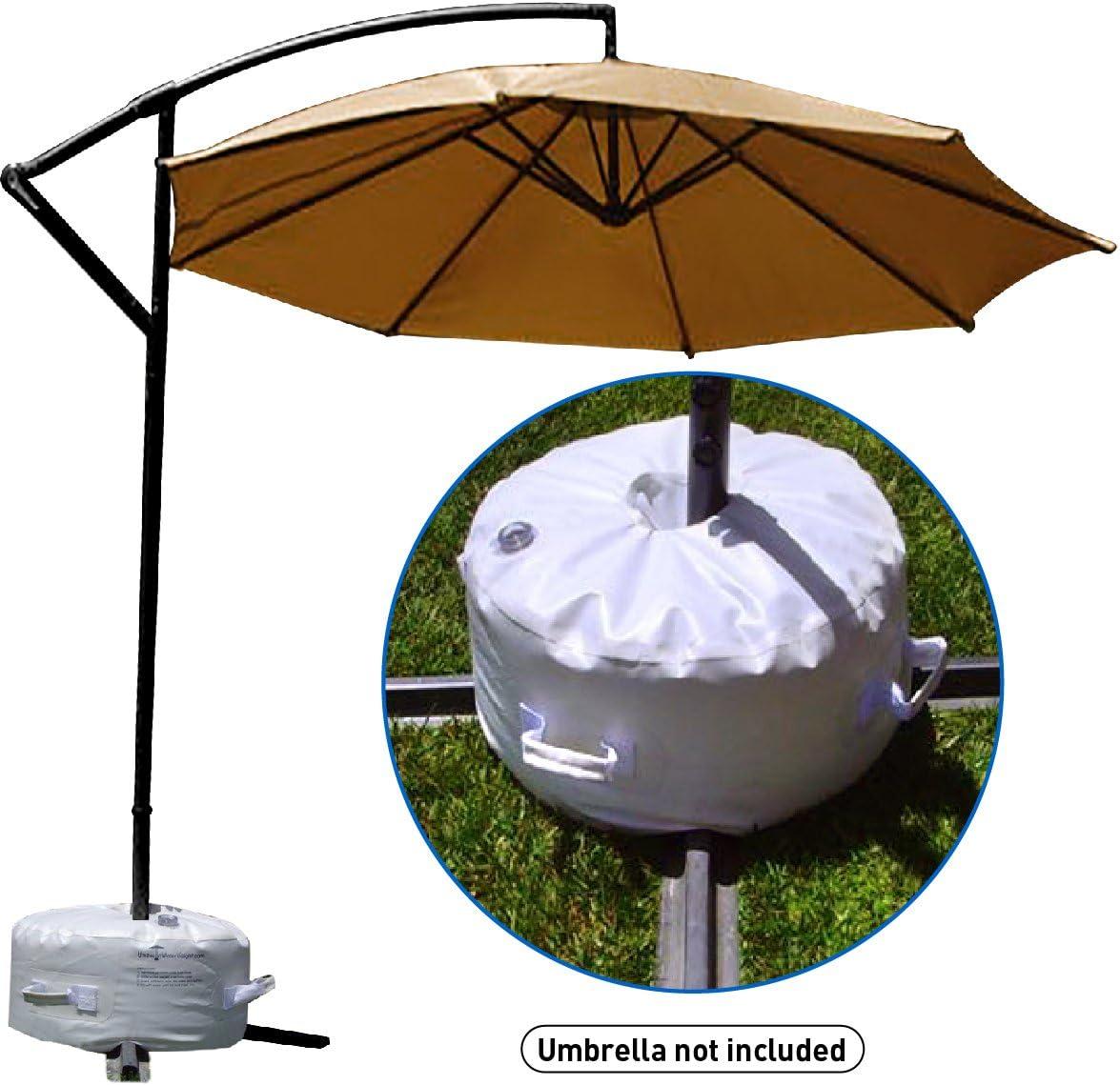 Easy Go Offset Umbrella Base Stand Weight – Works Also for Market Umbrella White