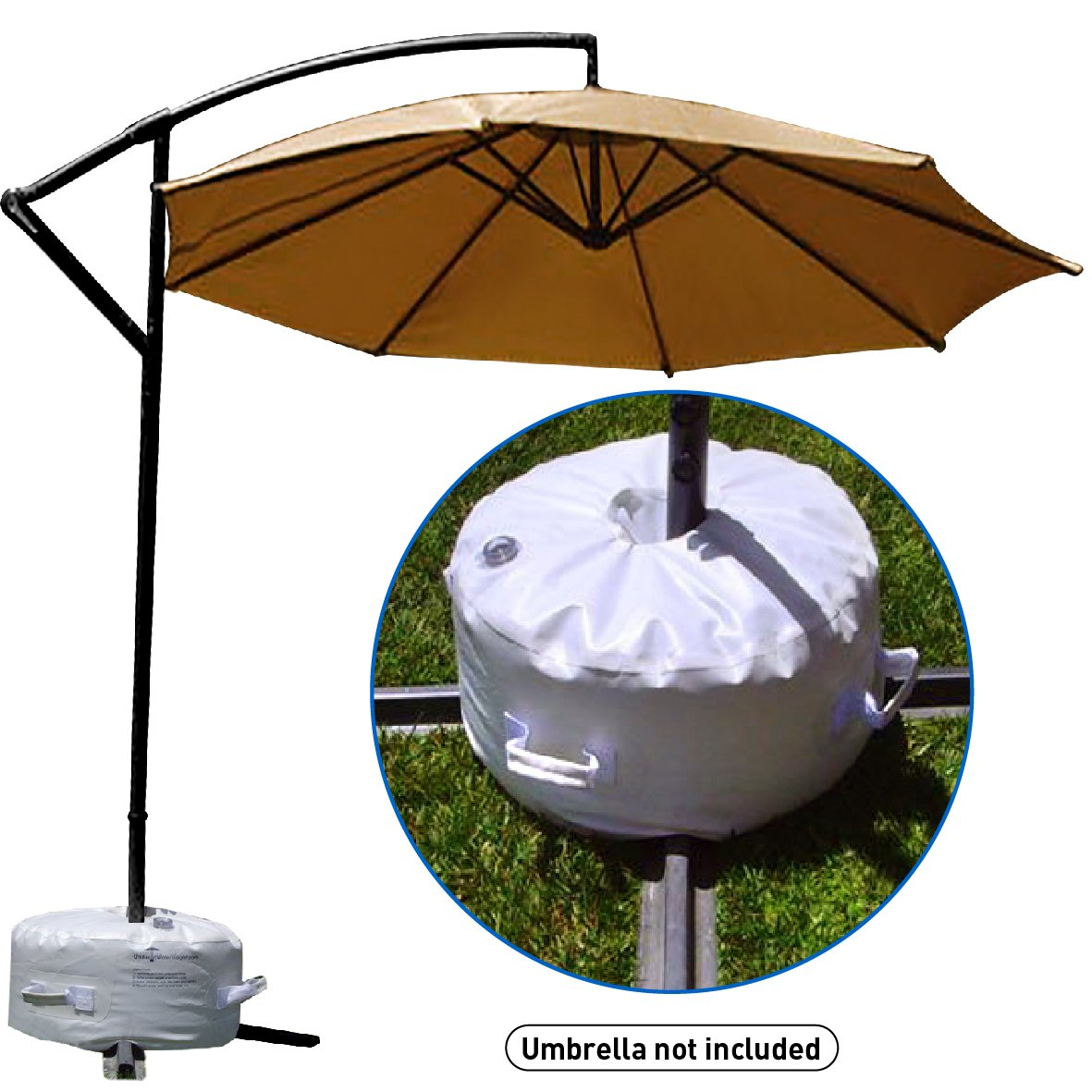 Giantex 23L Round Water Filled Patio Umbrella Base, 20 Heavy Duty Stand Weight, Self-Fillable Outdoor Market Umbrella Holder