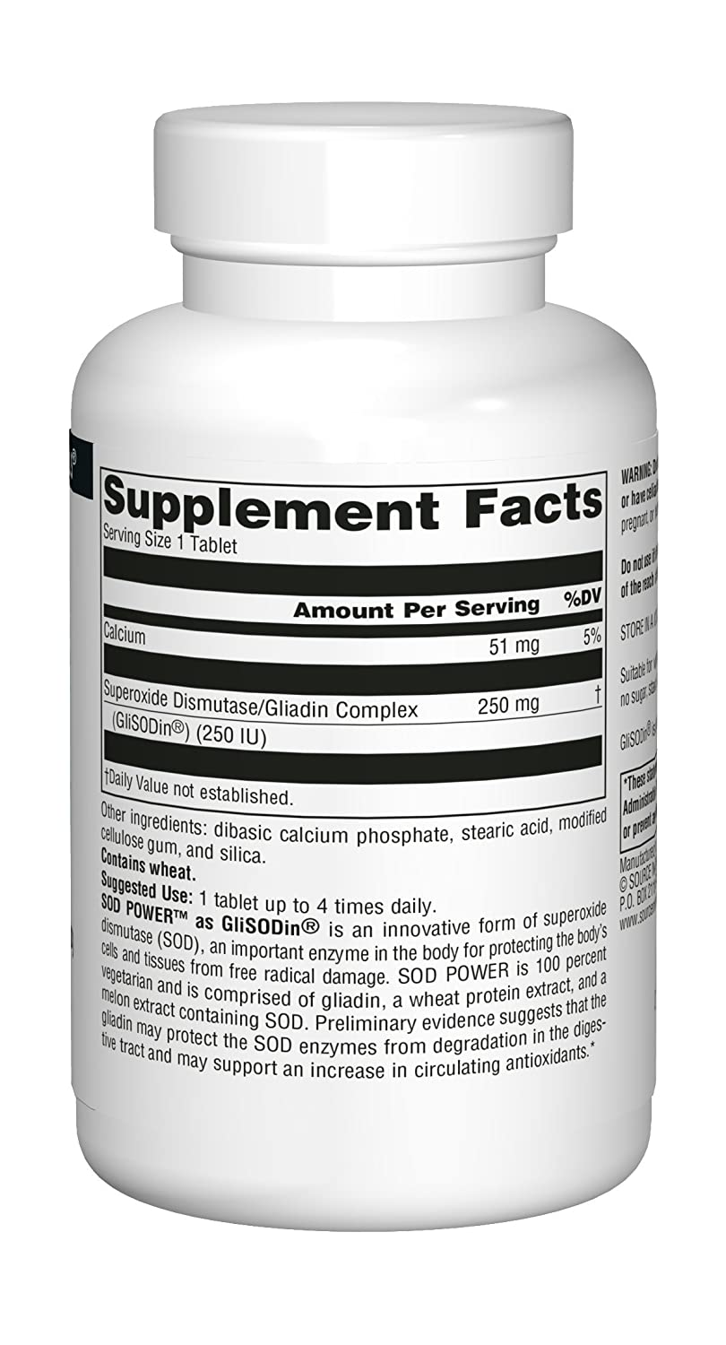 Source Naturals SOD Power 250mg Superoxide Dismutase As Glisodin Nutricosmetic Supplement - 60 Tablets