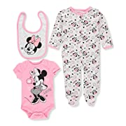 Disney Baby Girls' Minnie Mouse 3 Piece Bodysuit, Pant, and Bib Set, Cotton Candy Pink, 0/3 M