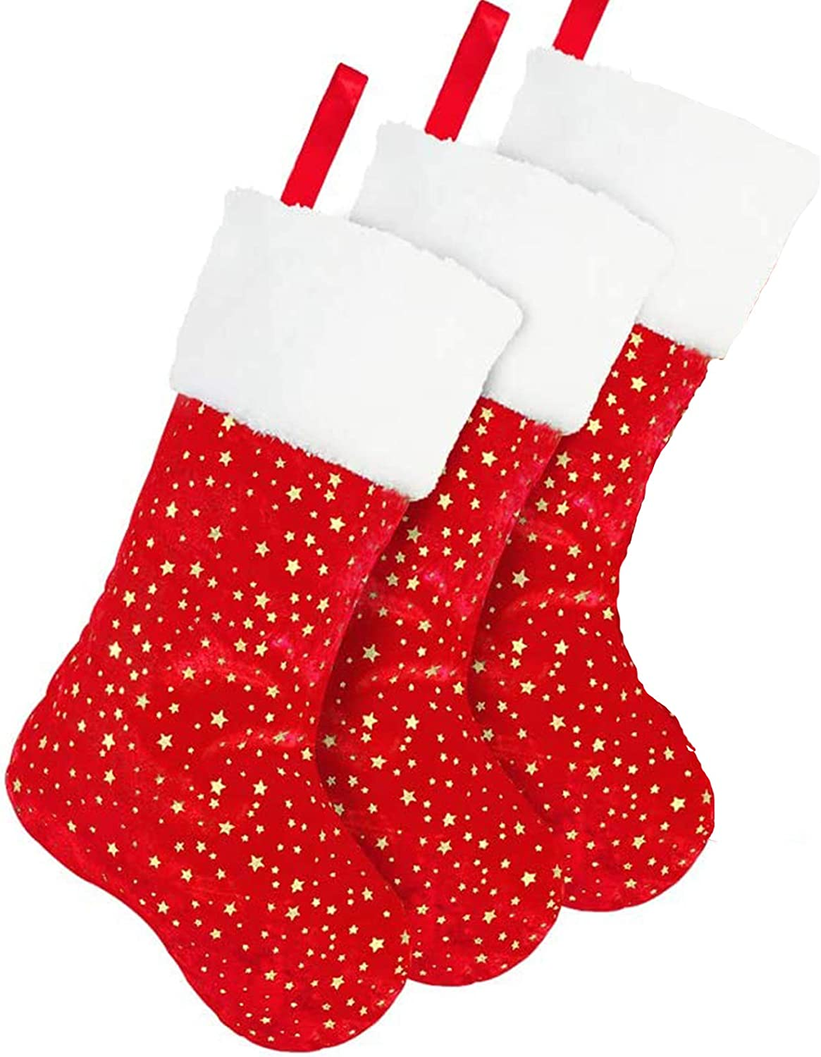 DegGod 3 Pack Red Christmas Stockings Set, 18 inches Golden Star Xmas Stocking with White Plush Trim for Farmhouse Rustic Xmas Fireplace Hanging Decoration (Red + Gold)