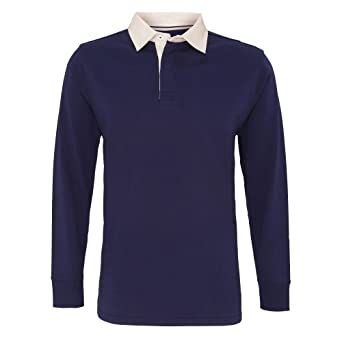 Asquith & Fox Mens Classic Fit Long Sleeve Vintage Rugby Shirt ...