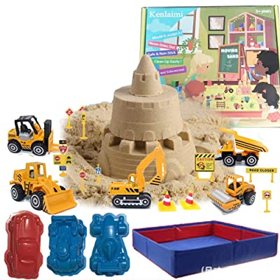 Kenlaimi Moving Sand Play Sand for Kids - Construction Vehicle Playset - 2lbs Play Sand 6 Mini Construction Trucks 10 Road Signs with Foldable Sandbox Birthday Gifts for Boys Girls: Toys & Games