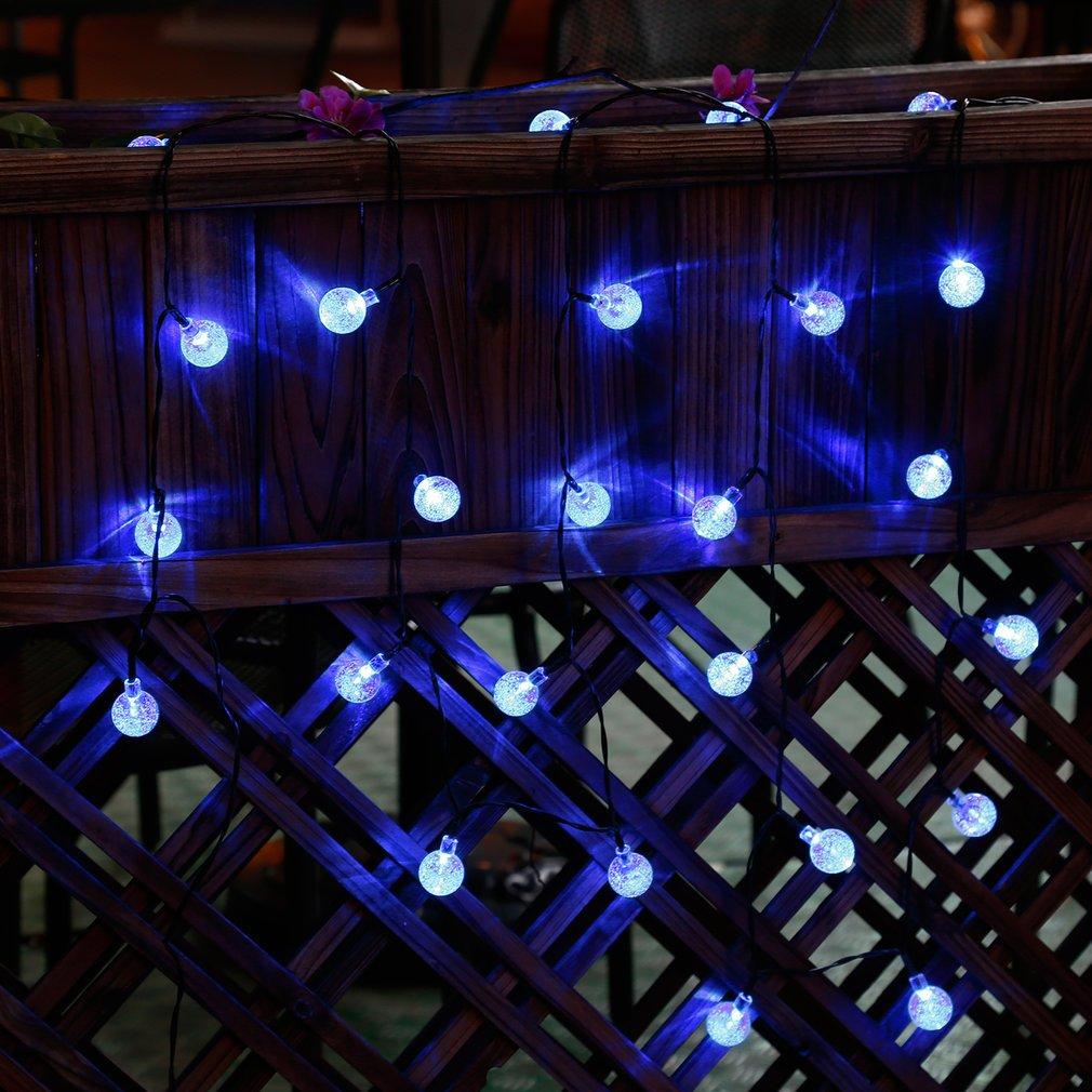 cadena de luces solar luminosa exterior led de bolas de cristal para fiesta navidad hogar