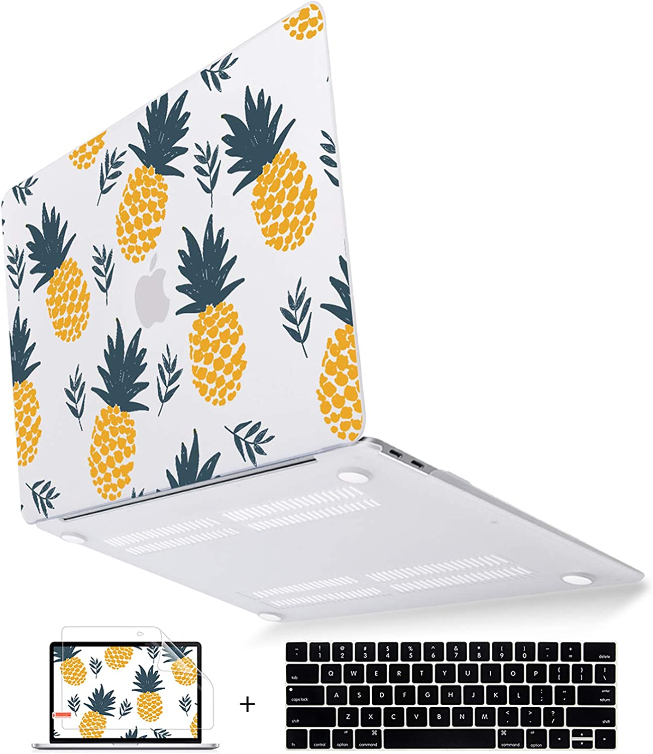 Mektron MacBook Pro 13 inch Case 2019-2016 Model A2159/A1989/A1706/A1708, Pineapple Plastic Hard Shell Case Cover Silicone Keyboard Skin & Screen Protector