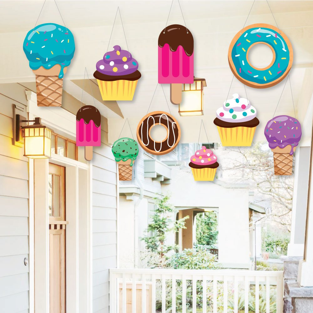 Hanging Sweet Shoppe Outdoor Hanging Decor Candy And Bakery Baby Shower Or Birthday Party Decorations 10 Pieces