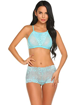 28946210c3 Oheetu 2 Piece Lingerie Pajamas Sets Lace Bra Panty Set Sexy Sleepwear Blue  Small