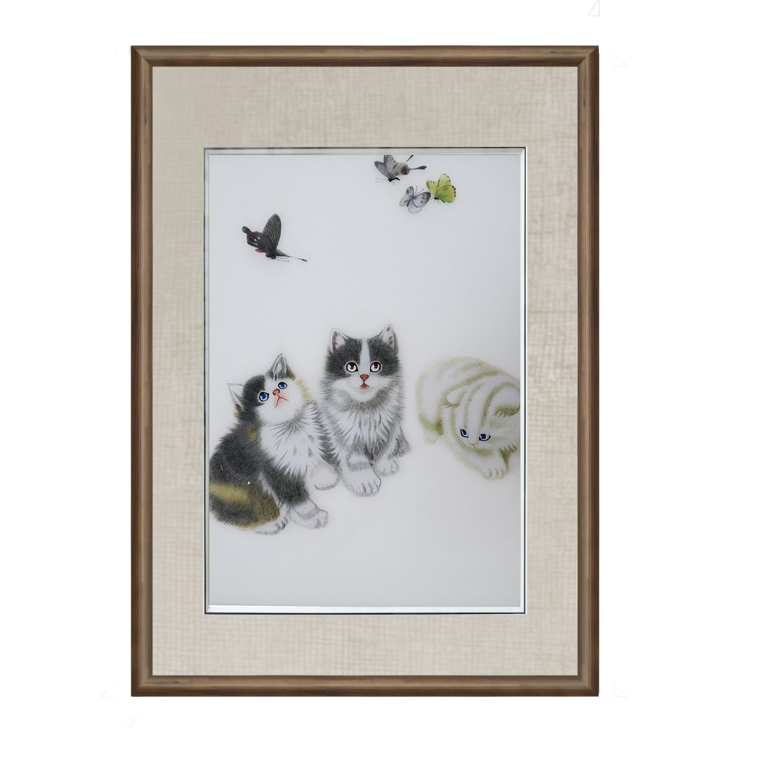 Vivi min 100% Handmade Embroidery Chinese ink painting Framed (Three kittens play with butterflies)Hanging Wall Decoration Souvenir Fashion collectible Gift