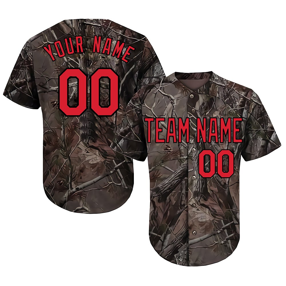 Customized Women's Realtree Camo Baseball Softball Jersey with Embroidered Your Name & Numbers,Red-Black Size S by DEHUI