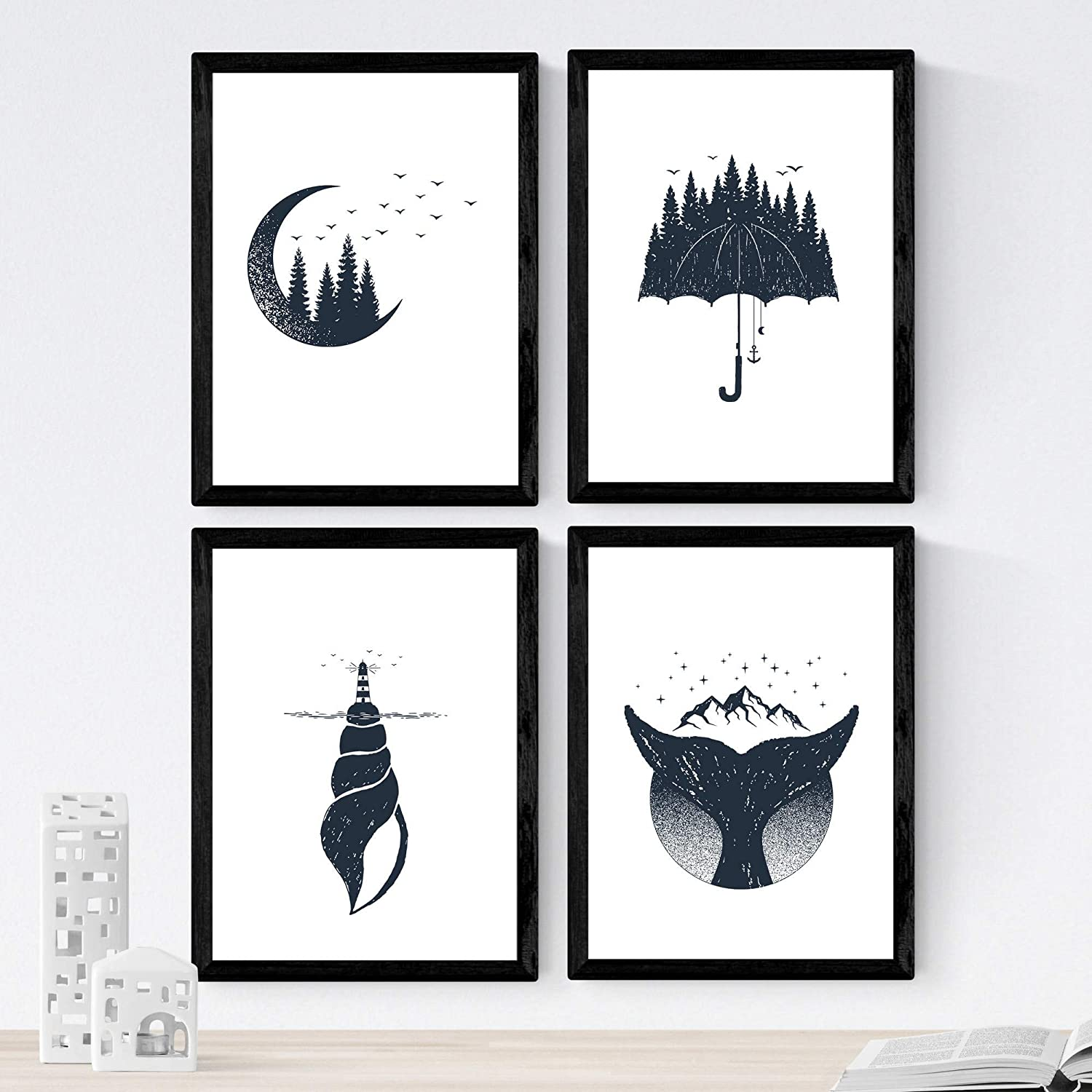 Nacnic Moon, Forest,Whale, Umbrella, sea Shell,Mountain, Birds Anchor, Lighthouse, Black&White in 8x11 Size, Poster Paper 250 gr. Frameless