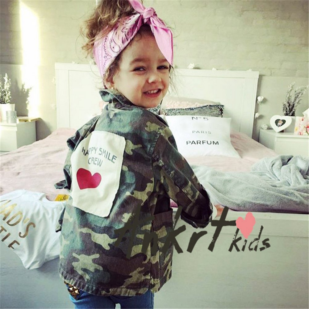 9ae1e324b Amazon.com  Kids Baby Girls Camouflage Letters Print Coat Casual ...