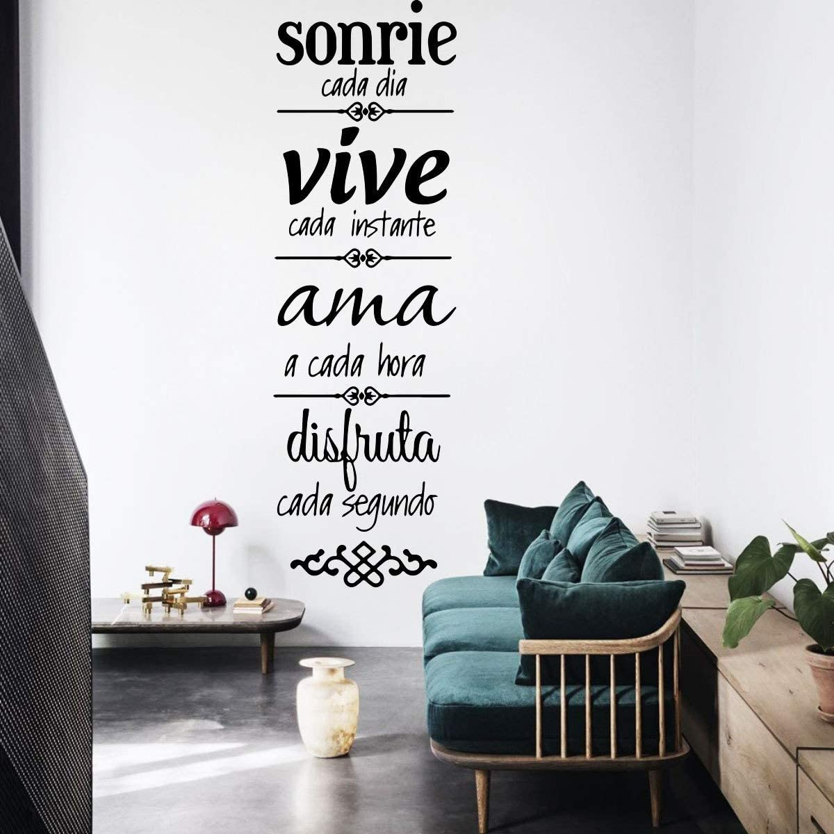 Sonrie Vive AMA Wall Decal Stickers , Vinyl Verses Wall Decor, Home Background Decor Wall Art Sticker Spanish Family Rules Wall Decals Stickers Sayings Words Art Decor
