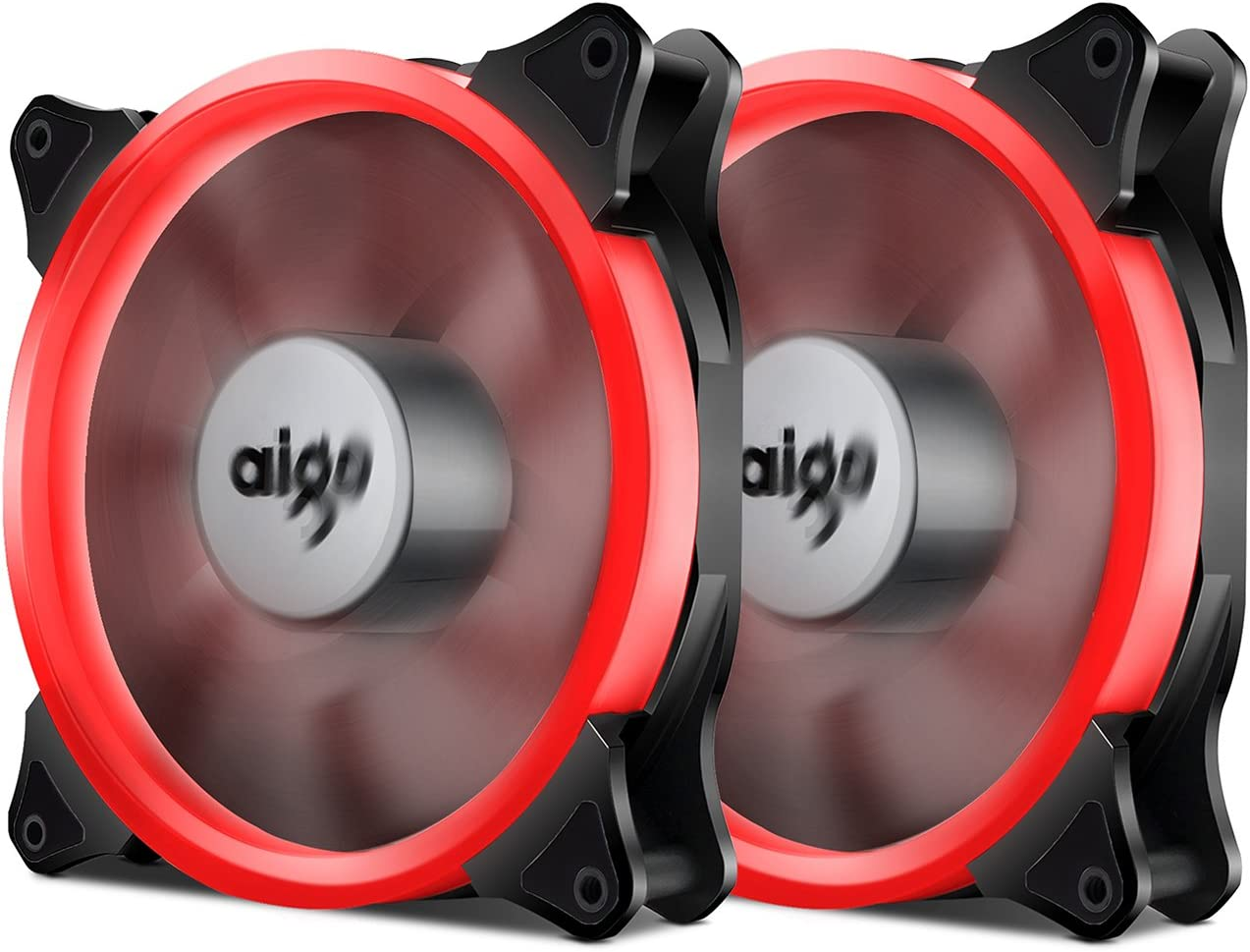 Aigo Halo Ring Fan 140mm Case Fan Quiet Edition High Airflow Adjustable Color LED Case Fan for PC Cases, CPU Coolers,Radiators 4 Pin/3 Pin (140mm, 2 Pack Red)