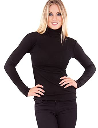 Ladies Vertical Ribbed Black Long Sleeve Turtleneck Sweater Top at ...