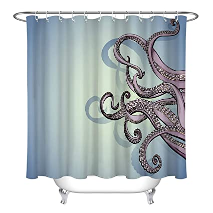 LB Octopus Tentacles Shower Curtain Set Ocean Sea Life Bathroom DecorBath Hooks