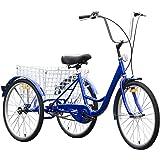 Goplus Adult Tricycle 3-Wheel Bicycle Single Speed Bike Seat Adjustable Trike w/Bell Brake Basket