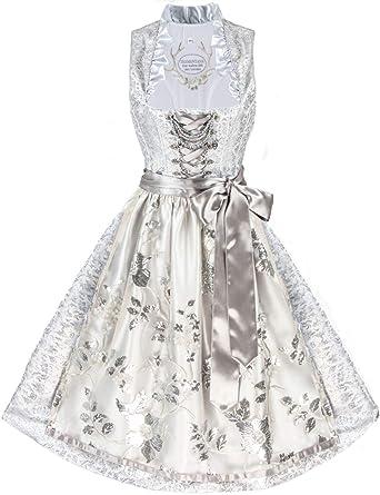 b57ed6d0024f56 Tramontana Festliches Designer Dirndl Lesandra (Silber) Hochzeitsdirndl  midi Größe 32