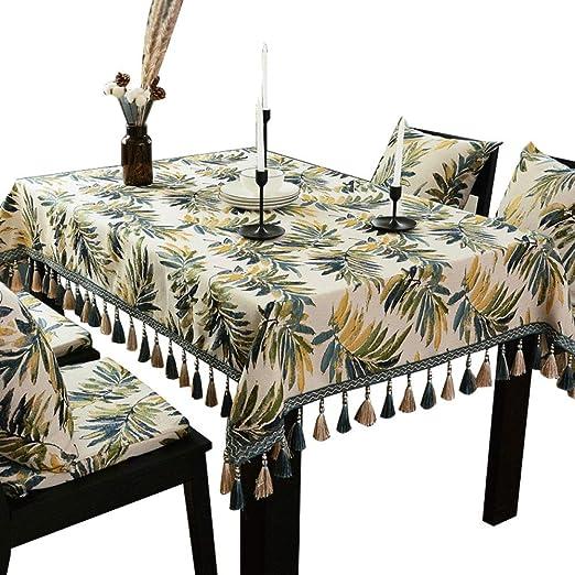 Homes Mantel Mesa De Comedor Mantel Hogar Mantel Rectangular Mesa De Café Mantel Mantel De Algodón Pequeño Fresco110X110cm: Amazon.es: Hogar