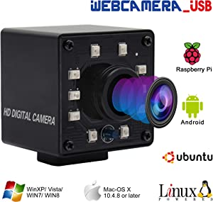 """100fps 1.56mm Fisheye Lens USB Camera 1/2.7"""" CMOS OV2710 Web Cam Full HD 1080P USB with Camera Mini Infrared Night Vision USB2.0 Web Camera with IR Cut and 10pcs Led Board for Android Windows Linux"""