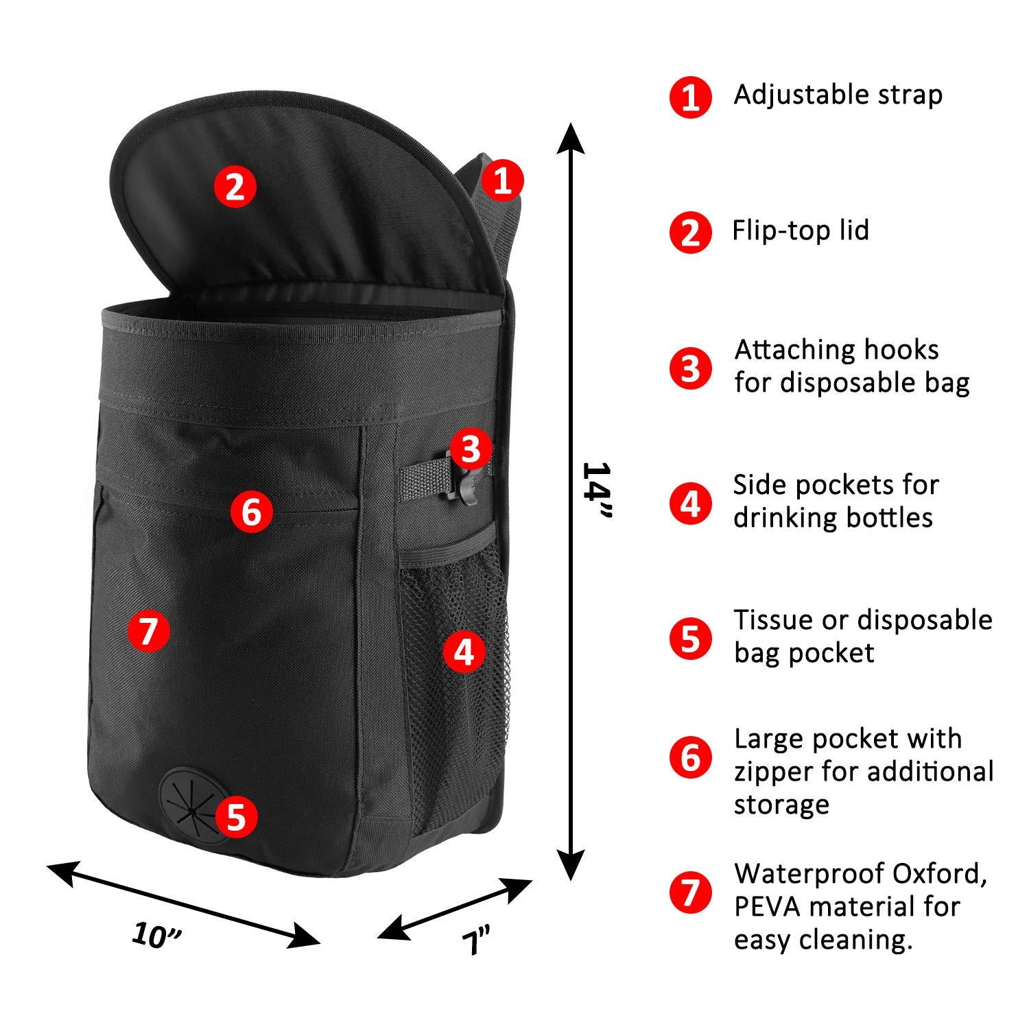 Cypropid Car Trash Can Easy to Wash and Use Suit for Hanging in Your Car//Van//Truck//Auto//SUV Removalbe Leakproof Trash Can Liner 2.5 Gallon Capacity Storage Bag