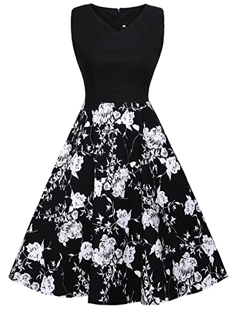 FAIRY COUPLE 1950S Vintage Rockabilly Lunares Vestido de Baile DRT072(3XL, Negro+Negro