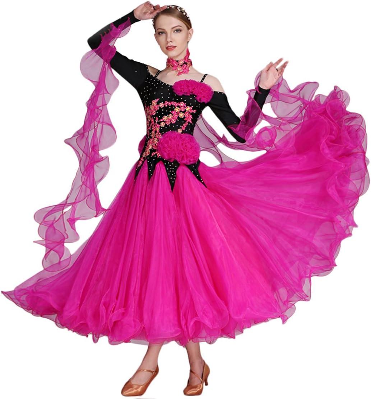 KLOSS 全2色 グリーン ローズ 社交ダンス モダンダンス衣装 ワルツ専用ドレス 長袖ワンピース レッスン着 ラテンダンス フラメンコ ルンバ サンバ 練習競技着 発表会 演出服 ステージ衣装 KLOSS-7 グリーン Medium